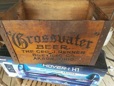 Antique Vintage Grossvater Beer Brewery Wood Wooden Crate Box Renner Akron Ohio