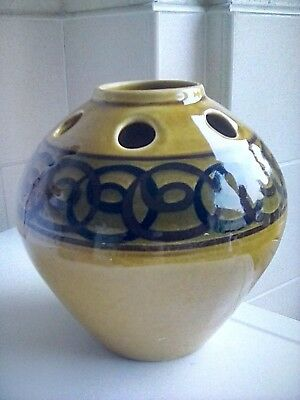 Vintage 1960s 70s Brown Round Vase Brixham Devon Pottery Brown Black Decoration