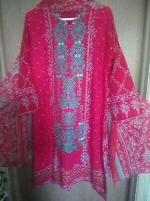 pakistani indian shalwar kameez new lawn chiffon dupatta Very Beautiful Dress Xl