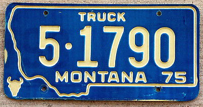 1975 White Incused Lettering on a Blue Montana TRUCK License Plate #5
