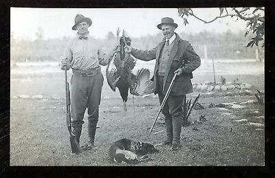 A71 Real Photo RPPC Hunting Postcard Turkey Dog Farm Country Rifle