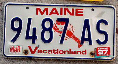 """Maine """"Lobster"""" License Plate """"Vacationland"""" with a 1997 Sticker"""