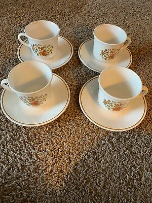 "SET of (4) CORELLE by CORNING ""INDIAN SUMMER"" PATTERN CUPS & SAUCERS"