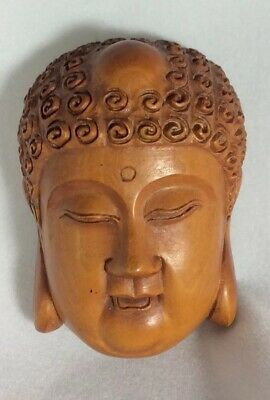Collectable Sereen Japanese Hand Carved Boxwood Buddha's Head Netsuke Signed