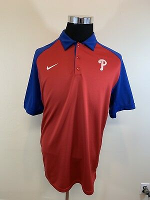 3eef15cf0 Men s Nike Short Sleeve Philadelphia Phillies Red Blue Polo Shirt Size  Large L