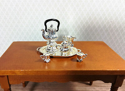 Dollhouse Miniature 7 Piece Silver Plated Fancy Coffee Serving Set 1:12 Scale