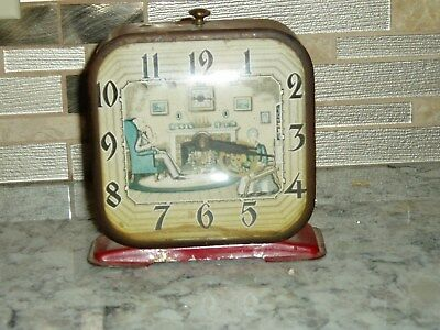 Vintage Lux  Clock Animated Spinning Wheel Red Alarm Clock