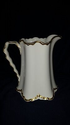 Pope Gosser China Company Large White Pitcher with Gold Trim