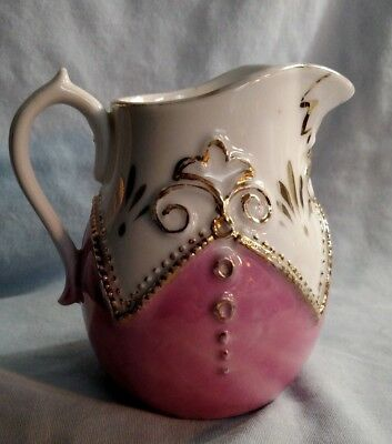 Germany Pink, White and Gold Cream Pitcher - Dime Mark