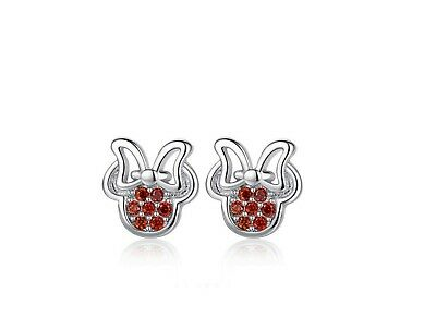 3b28bbee1 Micro-inlay Red CZ 925 Sterling Silver Disney Minnie Mouse Stud Earring