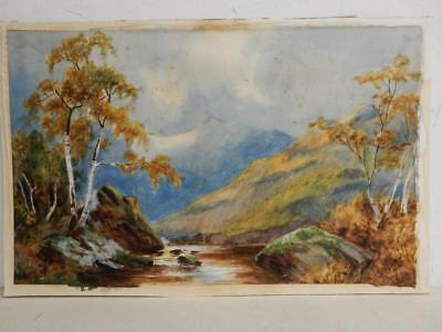 old PAINTING antique water colour LANDSCAPE signed