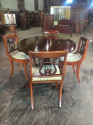 Vintage Mid Century Travis Court By Drexel Oval Dining Room Table and Chairs Set