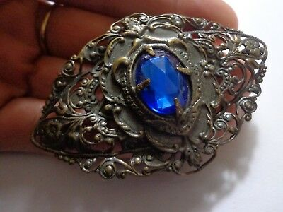 Antique Victorian Art Nouveau Faceted Blue Glass Brooch 3In
