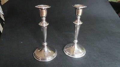 Pair of Sterling Candlesticks - 9 3/4 Tall - English - Contemporary