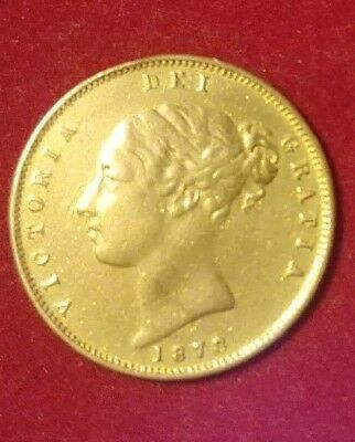 1878 British Gold Half Sovereign 3.9 Grams Royal Mint .917 Fine 12K Bezel