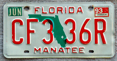 Florida Green State Outline License Plate MANATEE County with a 1993 Sticker
