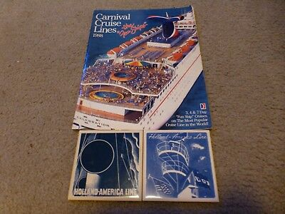 Lot of Two Holland America Coasters + 1988 Carnival Cruise Line Brochure
