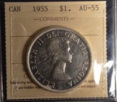 1955 Canada Dollar  -  Graded - ICCS AU55