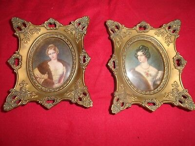 2 Vintage A Cameo Creation Oval Wall Pictures Convex Glass