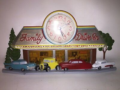 Vintage Old Cars Diner 1988 Burwood Family Drive-In Battery Op Wall Clock
