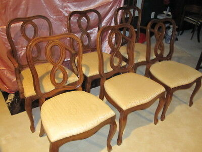 SET OF 6 Thomasville Solid Mahogany Dining Room Chairs: 2 ARM CHRS; 4 SIDE CHRS