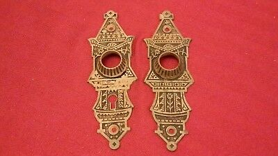 Antique Eastlake Bronze Door Knob Backplates Key Hole Door Plates