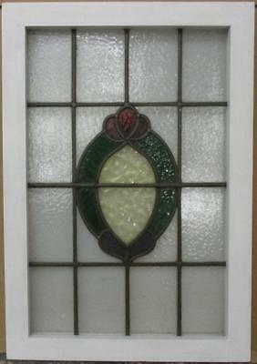 "MID SIZED OLD ENGLISH LEADED STAINED GLASS WINDOW Gorgeous Wreath 19"" x 27.25"""