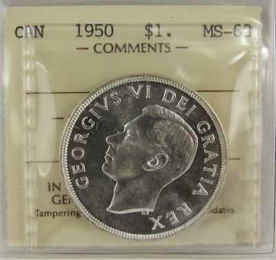 Canada 1950 Silver Dollar Iccs Mint State