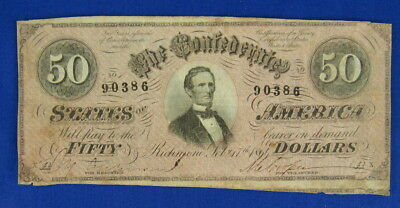 1864 Confederate States Of America $50 Fifty Dollar Banknote