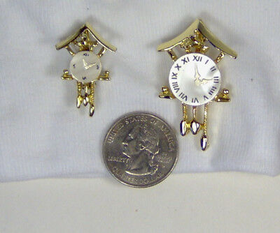 Vintage Pair of Cuckoo Clock Gold Tone Mother of Pearl Pins Retro Mid Century