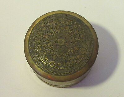 Vintage bronze colored India inspired Twine Holder tin Art Deco