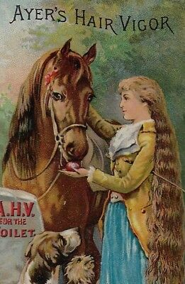 Victorian Trade Card - Ayer's Hair Vigor, Dr. J. C. Ayer & Co., Lowell, Mass.