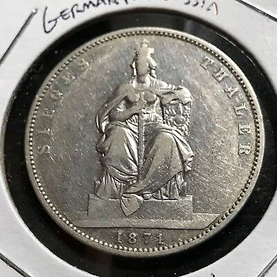 1871 Germany Prussia Silver Victory Thaler Crown Coin