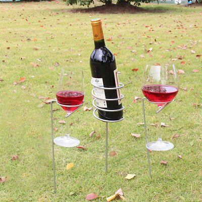 Outdoor Wine Glass Bottle Holder Stake Set Picnic Camping Wine Stakes Rack JC
