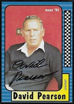 David Pearson Autographed Signed 1991 Maxx Racing Nascar Photo Trading Card #169