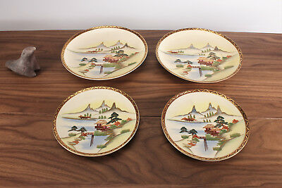 Antique Japanese Satsuma Kutani Pottery Tea Set Mountain Landscape Taisho