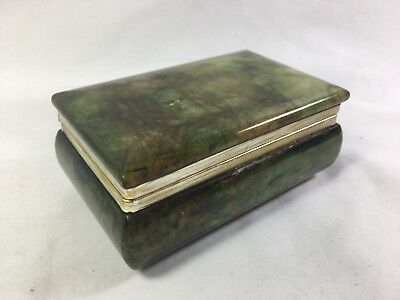 Vintage Hand Carved Genuine Alabaster Trinket Box Emerald Green ~ Made In Italy