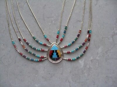 Vintage ZUNI Sterling Silver Stone Inlay 5 Strand Necklace BEAUTIFUL