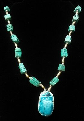 Vintage Egyptian Faience Blue Ceramic Scarab Beetle Cleopatra Beaded Necklace