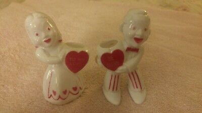 Vintage 2 Piece Rosbro Girl, Guy  Valentine Candy Container Hard Plastic