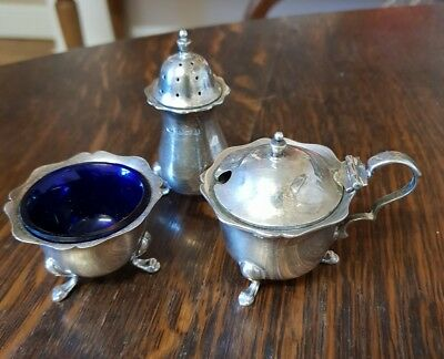 antique sterling silver sheffield 1900 CRUET SET SALT PEPPER