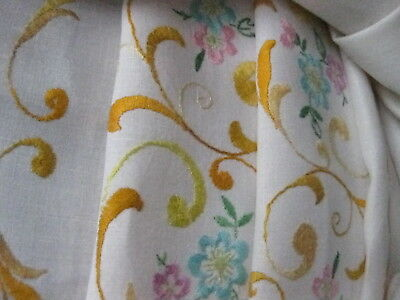 Vintage Hand Embroidered Linen Table Cloth - Exquisite Embroidery