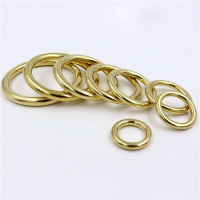 Cool 7-50mm Pure Brass Hoop Welded Ring Seamless Solid Circle For Craft Decor