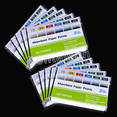 100 Pk Dental Endo Root Canal Absorbent Paper Points 15#-40# PP 0.02 200pc/pk