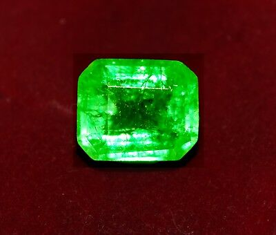 Natural Green Emerald, 7.75 cts GGL certified Emerald shape Zambian Gem