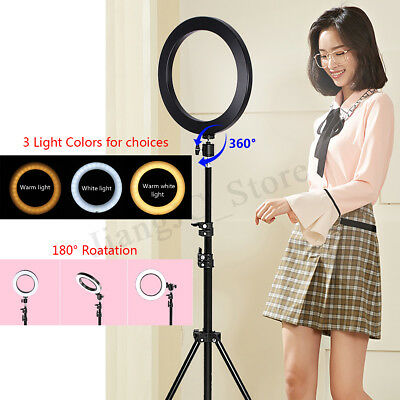 LED Ring Lamp Dimmable& Light Stand Kit Phone Photo Selfie Video Makeup Live