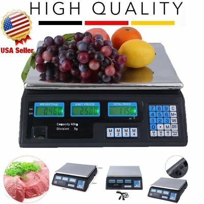 Digital Weight Scale Price Computing Deli Food Produce Electronic Counter 88LBS