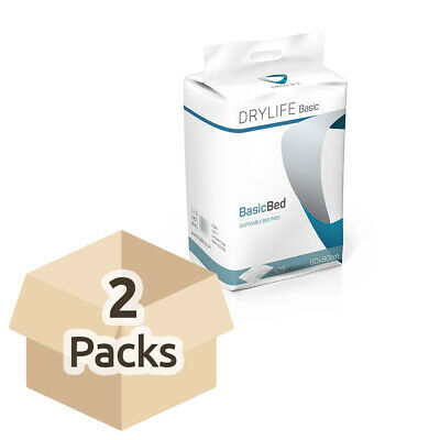 2x Absorbent Disposable Drylife Bed Pads - 60cm x 90cm - Pack of 25 - 1400ml