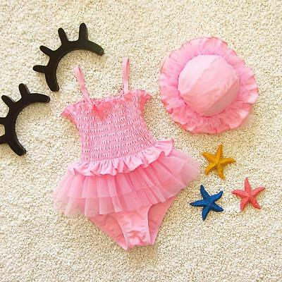 Bikini Girl Swimsuit Pink Swimwear Girls Bath Suit Beach Swimming Bodysuit + Cap