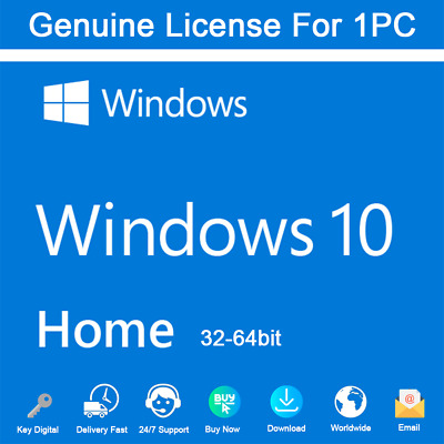 Windows 10 Home 32/64 bit License Key Activation Genuine